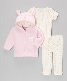 Look what I found on #zulily! Pink Bunny Jacket Set - Infant by Kyle & Deena #zulilyfinds