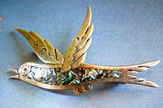 Abalone Bird Sterling Brooch-Pin by Pedro Castillo Taxco