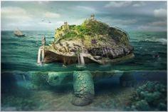 Browse Art - DeviantArt Giant Sea Turtle, Sea Turtle Art, Turtle Ship, Fantasy Creatures, Mythical Creatures, Sea Creatures, Dragon Rpg, Fantasy Dragon, Nautilus