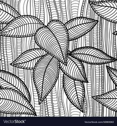Abstract floral seamless background Royalty Free Vector – Keep up with the times. Leaf Coloring Page, Coloring Book Art, Coloring Pages, Doodle Art Drawing, Leaf Drawing, Doodle Patterns, Zentangle Patterns, Woodcut Art, Mushroom Art