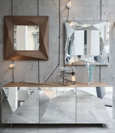Sectional #sideboard with doors CUBRIC by RIFLESSI #mirror
