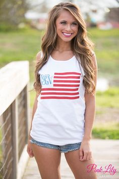You love monograms. You love America. You love glitter. We've combined all of these awesome things into one tank! Featuring red glitter vinyl stripes and a blue glitter vinyl monogram, this tank is perfect for showing off your American pride and love for your monogram.