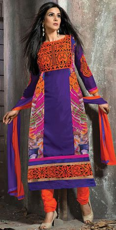 USD 35.16 Purple Faux Georgette Long Churidar Suit 42664