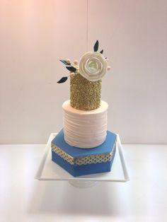 Peach & Blue Wedding Cake