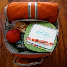 "Hey Smartie Pants {printable} – Here's a fun lunch box note that you can attach a package of smarties too.  It says, ""Hey There SMARTIE PANTS.  Hope your first day is going great!"""