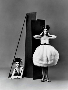 Dovima and Betsy Pickering wearing dresses by Lanvin-Castillo, Paris, August 1958. Photo by Richard Avedon.