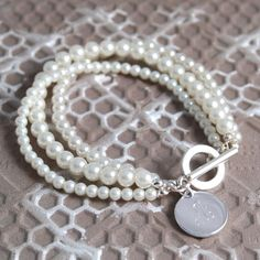 Engraved Triple Strand Pearl Bracelet with Charm for Bridesmaids