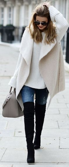 fall fashion trends / white sweater + bag + vest + jeans + over knee boots