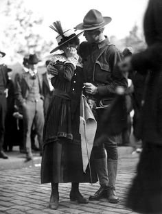 U.S. Soldier says goodbye to his girl before leaving for war 1917 WWI