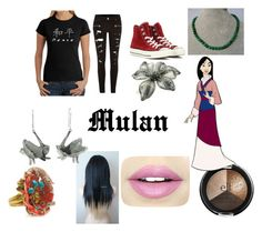"""""""Mulan Closet Cosplay"""" by thecrystalheart on Polyvore featuring Los Angeles Pop Art, River Island, Converse, Colette Malouf, Roberto Cavalli, NOVICA and Fiebiger"""