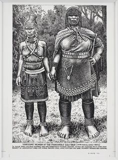 Handsome Women of the Formidable Zulu Race  Ink and correction fluid on paper   35 x 26 cm   2002    Crumb, Robert. Robert Crumb, Fritz The Cat, Alternative Comics, Bd Comics, Black Artwork, Comic Artist, Print Pictures, Illustration Art, Art Illustrations