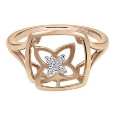14k Pink Gold Diamond Fashion Ladies' Ring