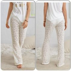 "White Lace Beach Pants These fabulous lace beach pants are unlined, so they are perfect to throw on over your suit. They have a stretch elastic waistband, and flare silhouette . 52% cotton, 48% nylon. Machine wash. Please refer to the sizing chart listed, to find your perfect fitAll have 30"" inseam. Soft off white in color. Swim Coverups"