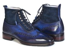 Mens Luxury Shoes : Mens Wingtip Boots Blue Suede & Leather.