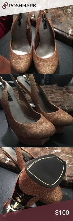 Adrienne Maloof Brand new never worn platform stilettos gold glitter for the perfect princess! adrienne Maloof Shoes Heels