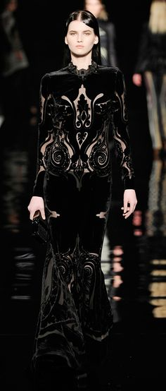 Etro~Black Lace Gown with Cut Outs~