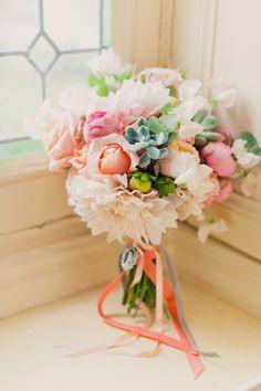 peach and succulent bouquet