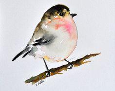 Acuarela ORIGINAL del pájaro azul Pintura Retrato por ArtCornerShop