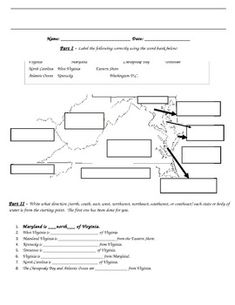 FREE DOWNLOAD IN MY STORE!! - This is a great review to help recall the bordering states and bodies of water of Virginia. It also encourages students to use cardinal and intermediate directions with Virginia's borders. I've used as a homework assignment but it could easily be used for an in-class assignment or maybe even an assessment.