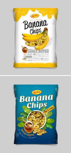 Banana Chips packaging design. 2 of 3 preliminary concepts. The one that will hit the supermarket shelf will soon be added here.  #bananaChips #packaging #design #snacks