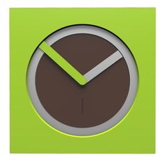 10-022-Q69C02B76O02M76 Wall clock KAM  - Do you like this color scheme? Chocolate, aluminium and apple green. Have fun creating your own #wallclockdesigns