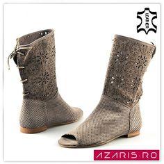 light beige leather summer boots