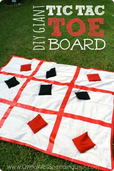 Giant DIY Tic Tac Toe Board Ready for some more Summer Fun With Kids? This giant tic tac toe board brings a classic game to life in a BIG way! It comes together in just a few minutes with just a few basic supplies for a fun game the whole family--or the w Group Games, Family Games, Fun Games, Games For Kids, Party Games, Dice Games, Summer Activities, Outdoor Activities, Group Activities