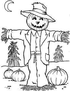Scarecrow Coloring Pages Photos by cecelia coloriage halloween à imprimer Pumpkin Coloring Pages, Fall Coloring Pages, Adult Coloring Pages, Coloring Pages For Kids, Coloring Books, Kids Colouring, Free Coloring, Scarecrow Face, Halloween Scarecrow