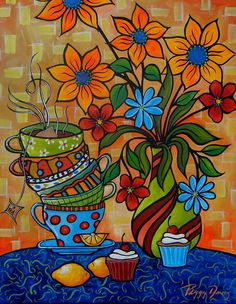 Tea And Cakes Painting by Peggy Bowie Davis - Tea And Cakes Fine Art Prints and Posters for Sale Happy Paintings, Colorful Paintings, Mexican Paintings, Funky Art, Arte Pop, Naive Art, Mexican Art, Whimsical Art, Oeuvre D'art
