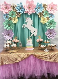 Sarahi's 10 th Unicorn Themed Birthday Party, Unicorn Birthday Parties, Birthday Party Decorations, Girl Birthday, Unicorn Party Decor, Birthday Ideas, 10th Birthday, Party Kulissen, Party Ideas