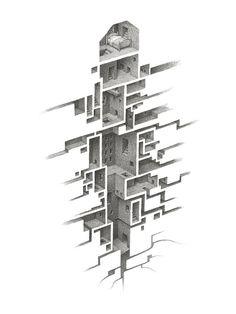 Hiding Places Drawing - Hiding Places Fine Art Print - Mathew Borrett