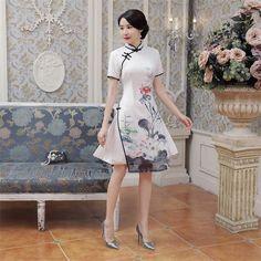High Quality Elegant Blue Satin QiPao Chinese National Vietnam Ao Dai Dress Lady' s Short Sleeve Print Short Dress S-3XL AD1