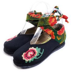 Floral Strips Cloth Shoes-zeniche.com SKU fb0055