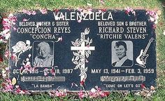 Ritchie Valens died at age 17 in the same plane crash as Buddy Holly and The Big Bopper. Valens is buried at The San Fernando Mission Cemetery in Mission Hills, CA Cemetery Headstones, Cemetery Art, Monuments, Famous Tombstones, Ritchie Valens, Famous Graves, Buddy Holly, Famous Musicians, After Life