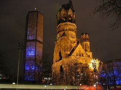 Berlin church bombed in World War II, never rebuilt to always serve as a reminder of the war