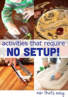 Quick toddler activities that I can do in a moment& notice, with no setup. Quick toddler activities that I can do in a moments notice, with no setup. Indoor Activities, Craft Activities For Kids, Infant Activities, Projects For Kids, Preschool Activities, Crafts For Kids, Water Activities, Preschool Projects, Time Activities