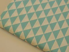 Tissu imprimé triangle, géométrique, Turquoise et blanc