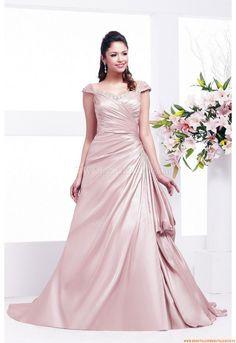 Square-neck A-linie Bodenlang Preiswerte Schönste Brautkleider aus Satin