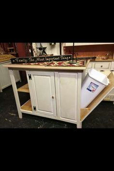 Multi-functional kitchen island with tons of storage. Hidden pull ...