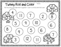 Thanksgiving color by number: simple addition. FREE! Can