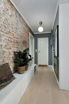 39 Colorful Brick Wall Design Ideas For Home Interior To Try Asap Flur Design, Wall Design, House Design, Hallway Decorating, Interior Decorating, Interior Design, Parquet Pvc, Hallway Ideas Entrance Narrow, Narrow Hallways