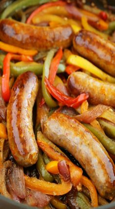 Skillet Italian Sausage, Peppers, and Onions ~ Serve over Pasta, Polenta, Potatoes or on Crusty Rolls. I Love Food, Good Food, Yummy Food, Great Recipes, Favorite Recipes, Dinner Recipes, Summer Recipes, Easy Recipes, Dinner Ideas