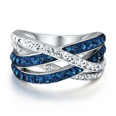 Blue amp white crystal criss cross ring in sterling silver new arrivals