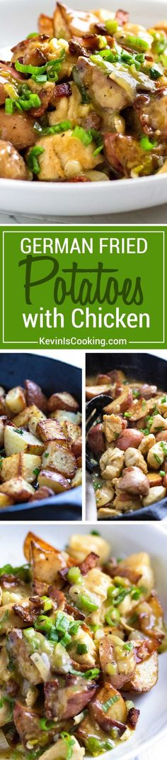 A twist to the traditional German fried potatoes, this dish mixes a tangy sauce, rotisserie chicken and bacon for a quick and delicious dinner in minutes. via @keviniscooking