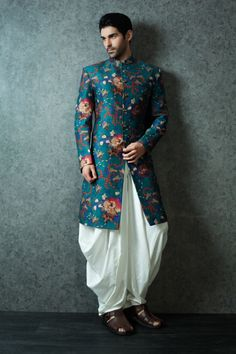 M16-104 - Chanderi silk printed Sherwani with Patiala bottoms