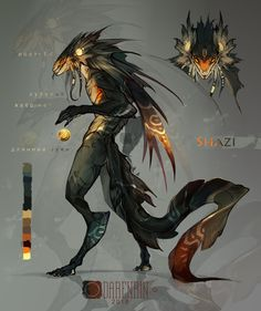 Draw Creatures Shazi by Darenrin on DeviantArt - Monster Art, Monster Concept Art, Alien Concept Art, Creature Concept Art, Fantasy Monster, Monster Design, Creature Design, Mythical Creatures Art, Mythological Creatures