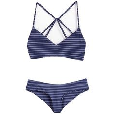 Coauan Women Classic Stripe Navyblue Bikini Set Swimsuit With Pad (705 INR) ❤ liked on Polyvore featuring swimwear, bikinis, swimsuits, bathing suits bikini, padded swimsuits, padded bathing suits, bikini two piece and bathing suits two piece