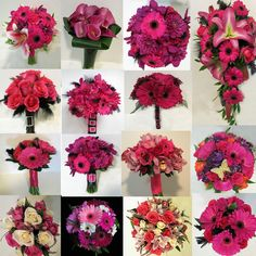 hot pink Bouquets | inspiration board hot pink bouquets wedding party bridal flowers