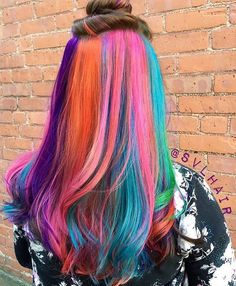 """411 Likes, 7 Comments - Joico Color Intensity (@joicointensity) on Instagram: """"Fun pops of color!!!! Genius """"hidden"""" rainbow panel by @svlhair  #colorintensity #joicointensity…"""""""