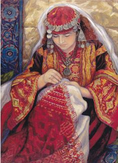 Palestinian Painting of a woman in a traditional dress doing the embroidery on another dress.